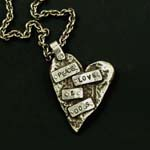 Peace, Love & Dogs Rough Heart Necklace on Sterling Silver